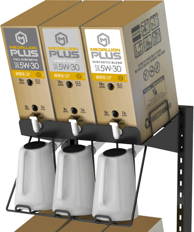 Medallion Plus Bag-in-a-box packaging display